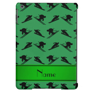 Personalized name green ski pattern iPad air cover
