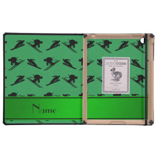 Personalized name green ski pattern iPad cases