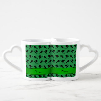 Personalized name green ski pattern couples' coffee mug set