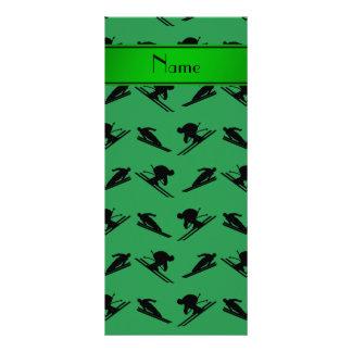 Personalized name green ski pattern custom rack cards