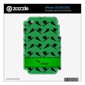 Personalized name green ski pattern iPhone 2G skin