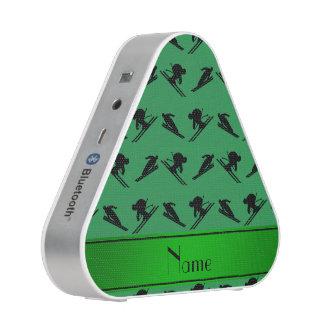 Personalized name green ski pattern speaker