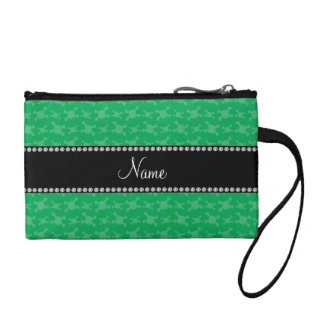 Personalized name green skulls pattern coin purse