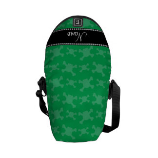 Personalized name green skulls pattern messenger bags