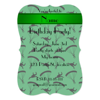 Personalized name green skydiving pattern card