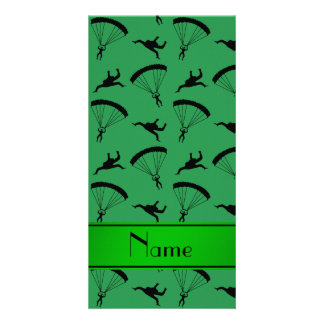 Personalized name green skydiving pattern photo card