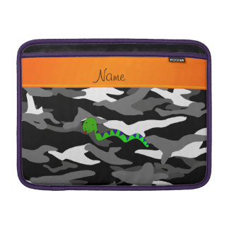 Personalized name green snake black camouflage MacBook air sleeve