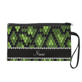 Personalized name green snake skin pattern wristlet purses