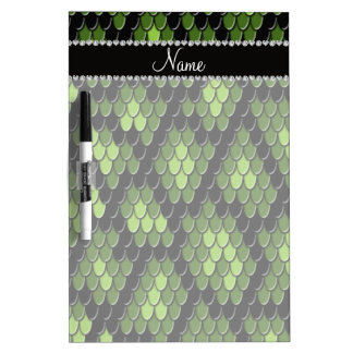 Personalized name green snake skin pattern dry erase whiteboards