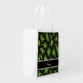 Personalized name green snake skin pattern grocery bags
