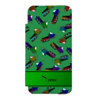 Personalized name green snowmobiles incipio watson™ iPhone 5 wallet case