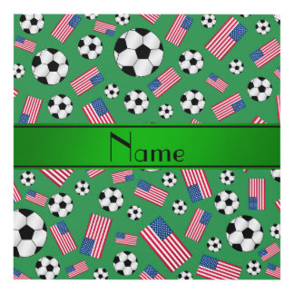 Personalized name green soccer american flag panel wall art
