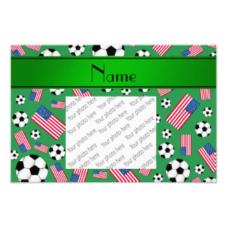 Personalized name green soccer american flag photo print