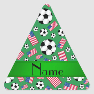 Personalized name green soccer american flag triangle sticker