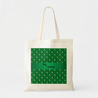 Personalized name green soccer balls tote bag