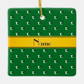 Personalized name green soccer yellow stripe ceramic ornament