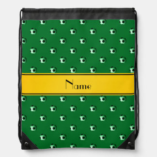 Personalized name green soccer yellow stripe drawstring backpacks