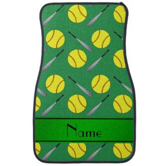 Personalized name green softball pattern car mat