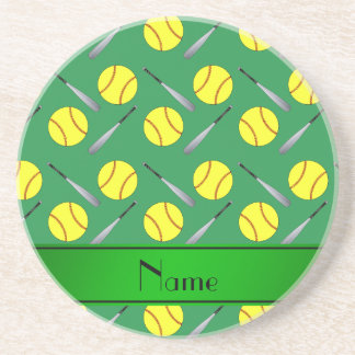 Personalized name green softball pattern beverage coaster