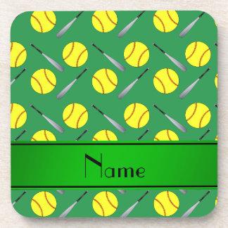 Personalized name green softball pattern coaster