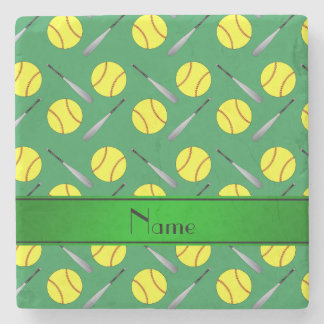 Personalized name green softball pattern stone beverage coaster
