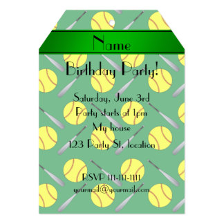 Personalized name green softball pattern 5x7 paper invitation card