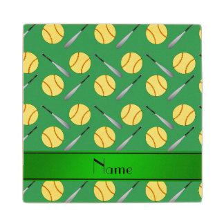 Personalized name green softball pattern maple wood coaster