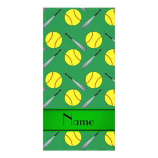 Personalized name green softball pattern custom photo card