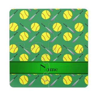 Personalized name green softball pattern puzzle coaster