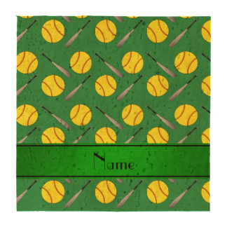 Personalized name green softball pattern beverage coasters