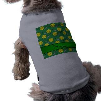 Personalized name green softball pattern T-Shirt