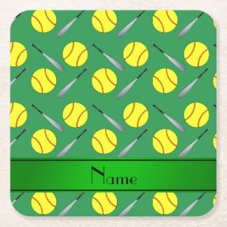 Personalized name green softball pattern square paper coaster