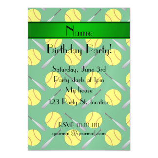Personalized name green softball pattern magnetic invitations