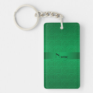 Personalized name green square circles keychain