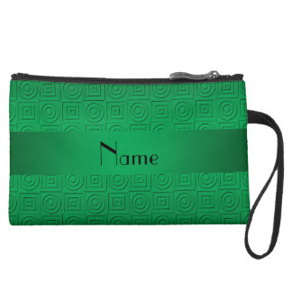 Personalized name green square circles wristlet clutches