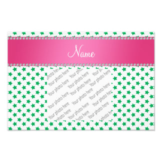 Personalized name green stars pink stripe photo print