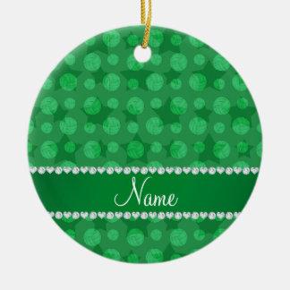 Personalized name green stars volleyballs ceramic ornament