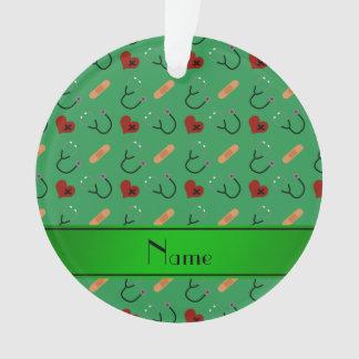 Personalized name green stethoscope bandage hearts