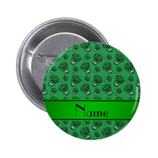 Personalized name green sugar skulls 2 inch round button