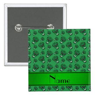 Personalized name green sugar skulls 2 inch square button
