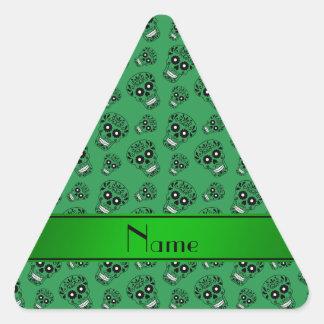 Personalized name green sugar skulls triangle sticker