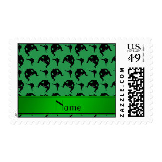 Personalized name green sumo wrestling postage stamp