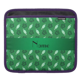 Personalized name green surfboard pattern sleeve for iPads
