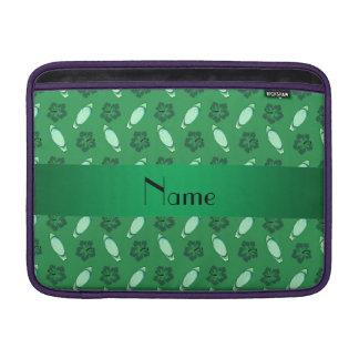 Personalized name green surfboard pattern MacBook sleeves