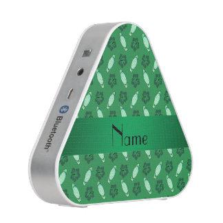 Personalized name green surfboard pattern bluetooth speaker