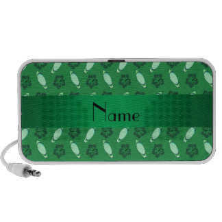Personalized name green surfboard pattern portable speakers