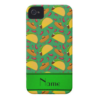 Personalized name green tacos sombreros chilis iPhone 4 cover