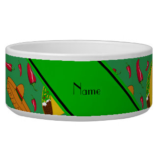 Personalized name green tacos sombreros chilis dog water bowl