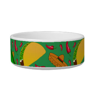 Personalized name green tacos sombreros chilis cat food bowls