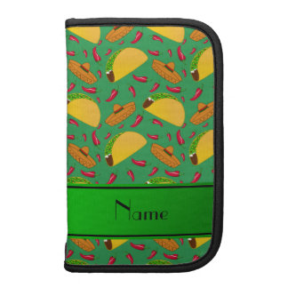Personalized name green tacos sombreros chilis planners